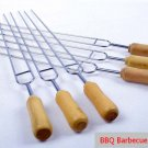 6pc's Row U BBQ Roast Barbecue Needle Skewers Wooden Handle Stainless Steel Fork