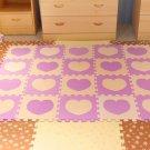EVA Foam Beige&Purple Love Rug Kid Puzzle Play Mat Baby Crawling Mats 30X30X1cm