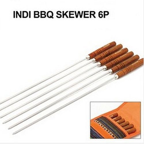 New 6 PCS Skewers BBQ Roast Barbecue Needle Skewer Wooden Handle Stainless Steel