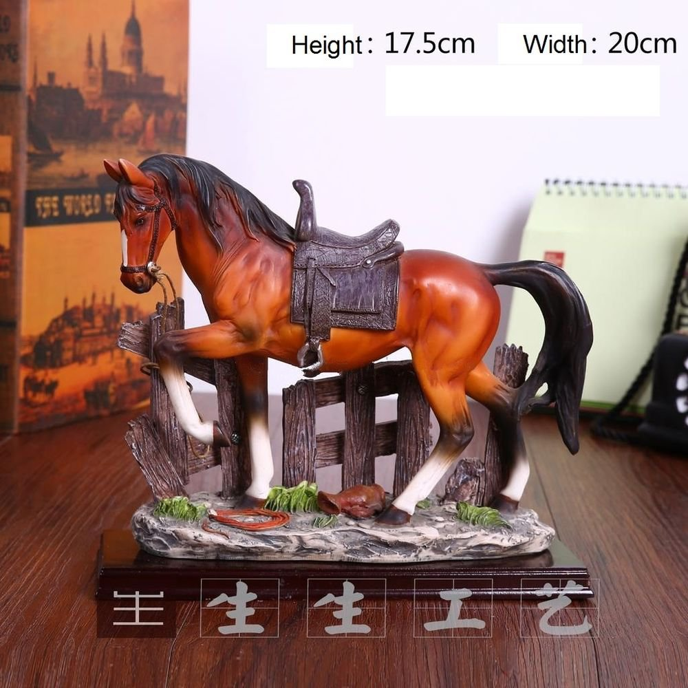 Home Decor Realistic Resin Wild Horse Models Statues Pure Hand-Polished Figurine