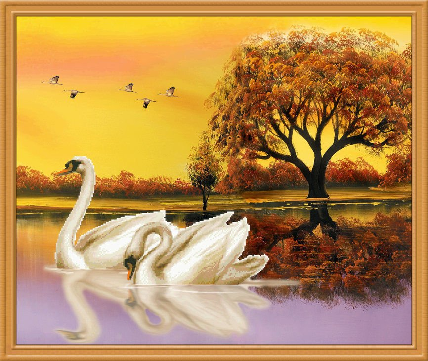 New 2015 5D Middle Swan Embroidered Diamond Round Crystal Diamond  DIY Painting