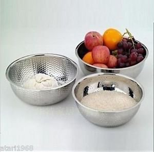3pcs/Set Stainless Steel Baking Wash Vegetable/Fruit Drain Rice Basin Great Gift