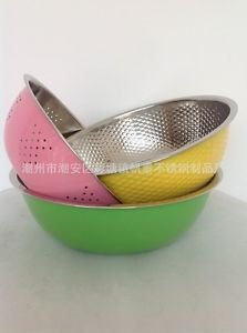 3pc's/Set Colorful Stainless Steel Baking Wash Vegetable/Fruit Drain Rice Basin
