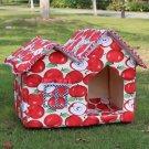 New Foldable Unique Pet Kennel Cabin Top Double Roof Dog House Warm Mat Cat Nest