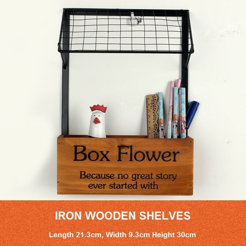 Wooden Box Flower Plants Wrought Iron Wall Hanging Letters Storage Boxes Shelf