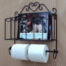 Black Classical Toilet Paper Roll Holder Creative Bathroom Wall Mount Magazines Rack