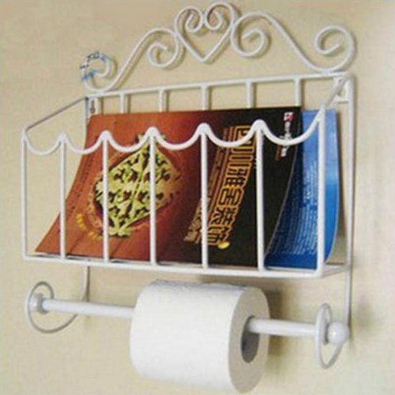 White Classical Toilet Paper Roll Holder Creative Bathroom Wall Mount Magazines Rack