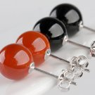 Women Red Black Hypoallergenic Sterling Silver Natural Agate Onyx Ball Earrings