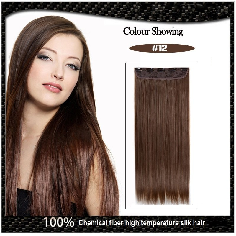 COLOR #12 Five Card Clip-on Hairpiece 120g High Temperature Wire Synthetic Straight Hair Extension