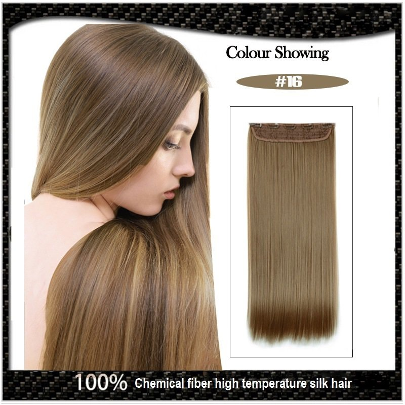 COLOR #16 Five Card Clip-on Hairpiece 120g High Temperature Wire Synthetic Straight Hair Extension