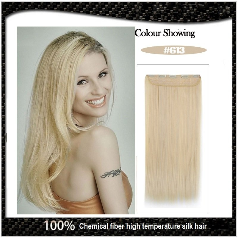 COLOR #613 Five Card Clip-on Hairpiece 120g High Temperature Wire Synthetic Straight Hair Extension