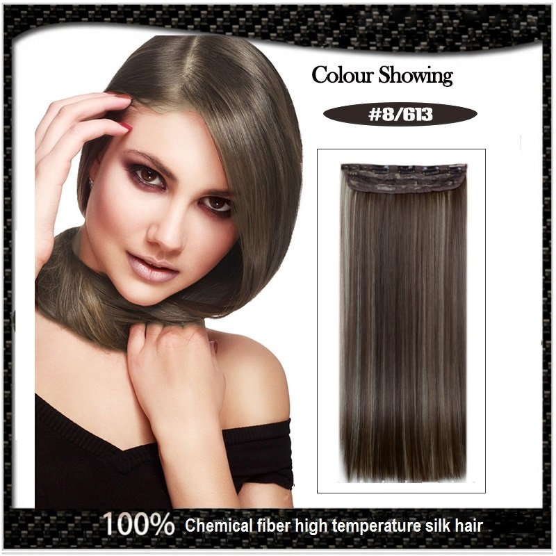 COLOR#8/613 Five Card Clip-on Hairpiece 120g High Temperature Wire Synthetic Straight Hair Extension