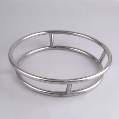 M Size Stainless Steel Pot Rack Creative Round Double Rings Stand Anti-Hot Frying Pan