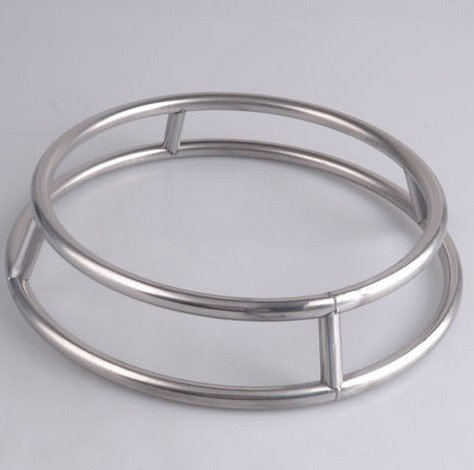 L Size Stainless Steel Pot Rack Creative Round Double Rings Stand Anti-Hot Frying Pan