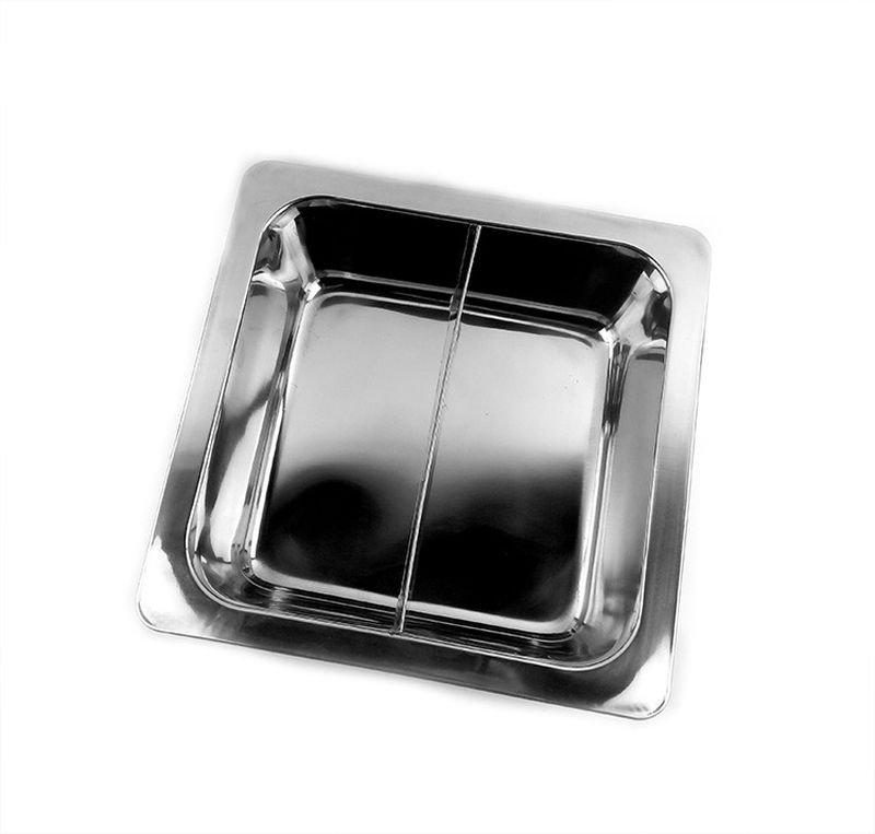 33CM 2 Cell Stainless Steel Thick Square Fondue Pots Divided Duck Hot Pan Grid Soup Pot