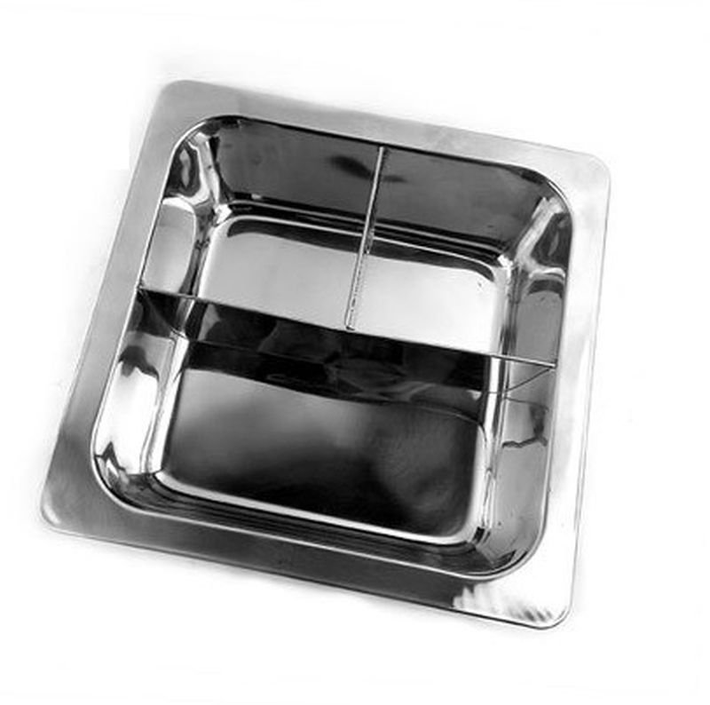 33CM 3 Cell T-Divider Stainless Steel Thick Square Fondue Pots Divided Duck Hot Pan Grid Soup Pot