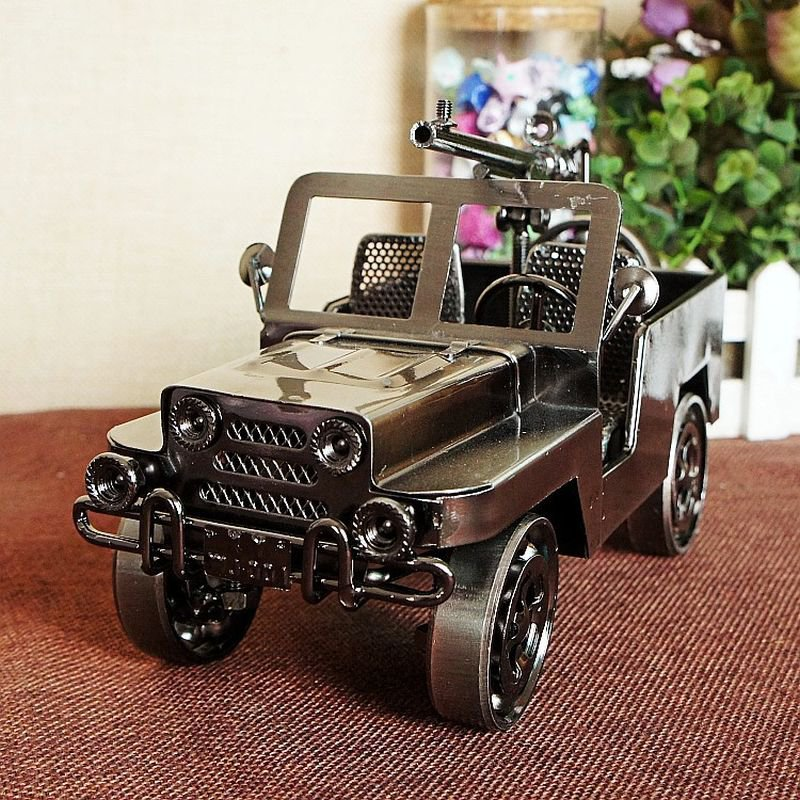 Color Black Fiery Vintage Chariot Handmade Ornament Wrought Iron Plating Metal Jeep