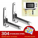 304 Stainless Steel Foldable Microwave Oven Storage Shelf Rack Tray Wall Bracket With Hook