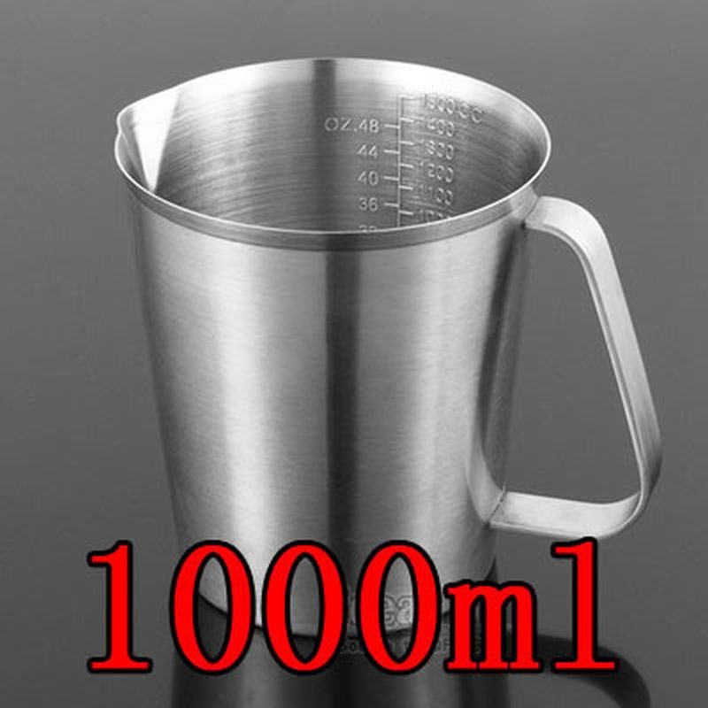 1000ML Thick 304 Stainless Steel Measuring Cup Milk Tea Coffee OZ ML CC Scale