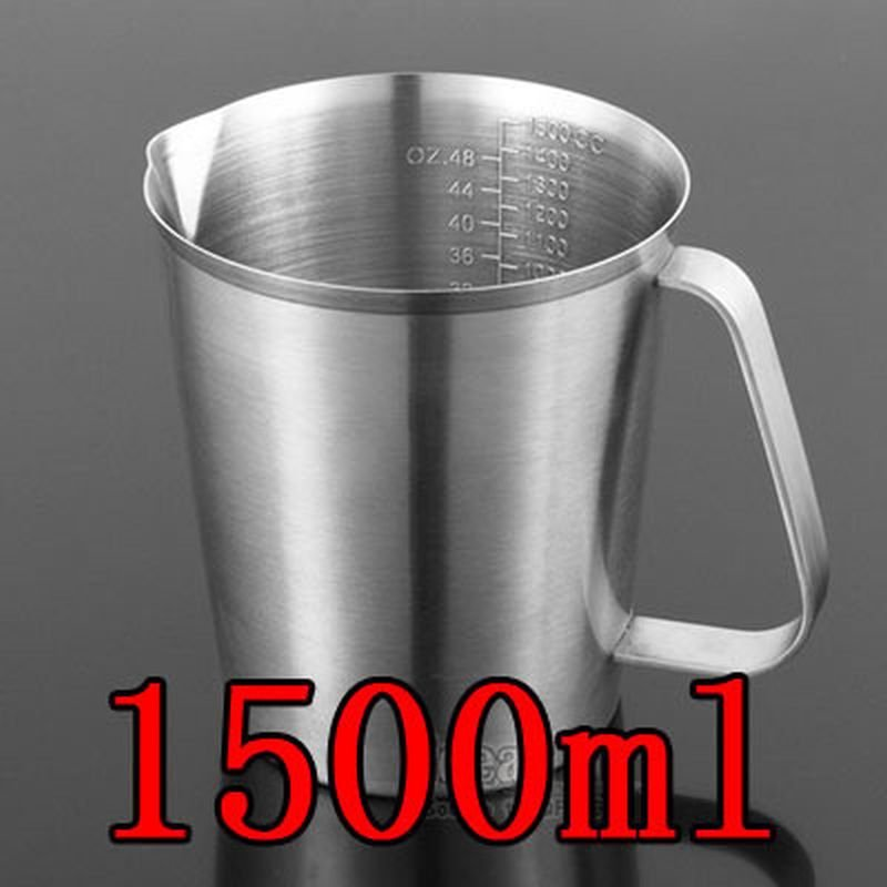 1500ML Thick 304 Stainless Steel Measuring Cup Milk Tea Coffee OZ ML CC Scale
