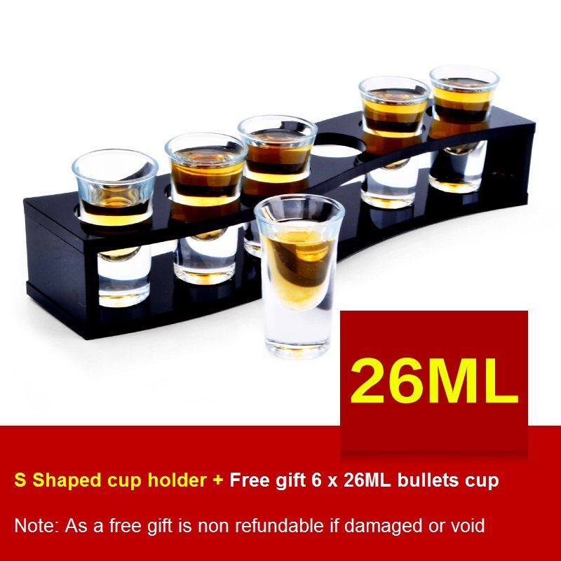 S-Shaped Wooden Tray Bar Club Small Bullets Cup Holder 6 Holes + Gift 26ml Glass