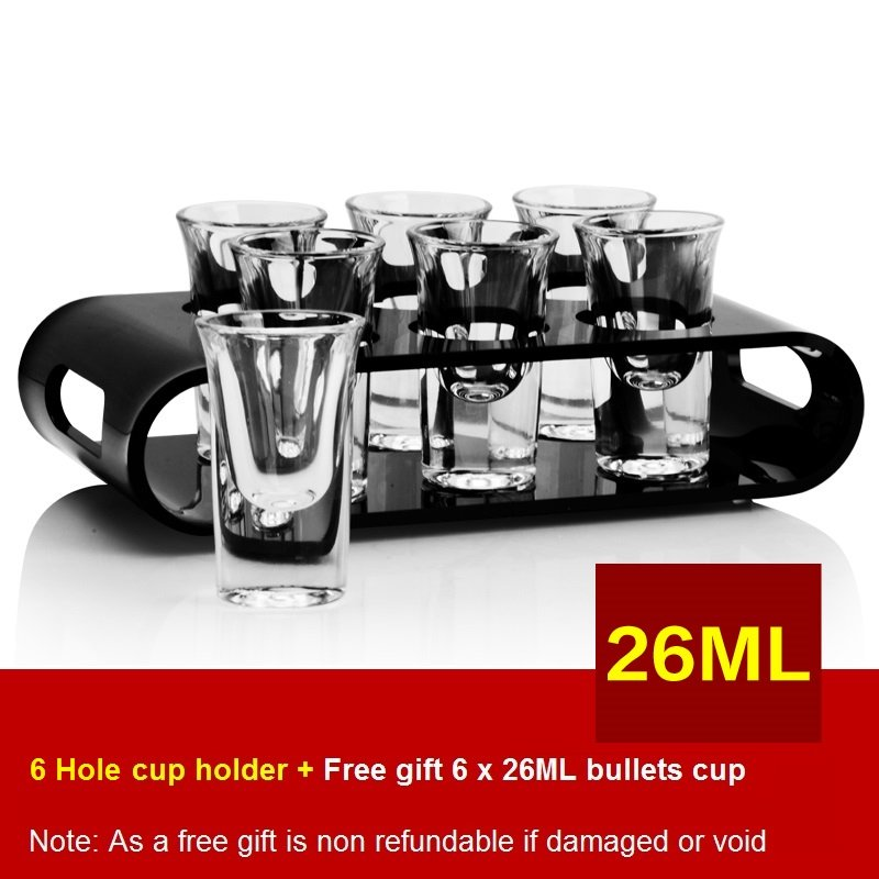 Black U-Shaped Tray Bar Club Small Bullets Cup Holder 6 Holes + Gift 26ml Glass