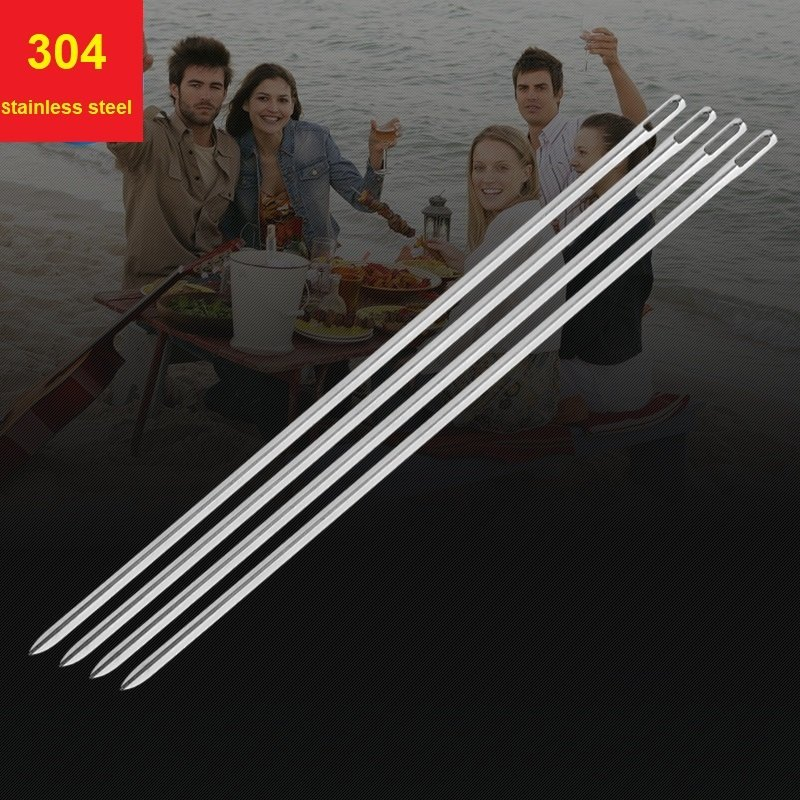 10 Pcs BBQ Skewers Stainless Steel Picnic Camping Barbeque Meat Grill Tool Needle