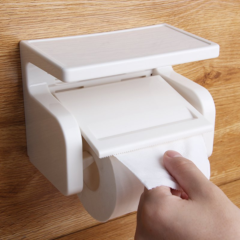 White ABS Bathroom Roll Paper Holder Cell Mobile Phones Shelf Toilet Towel Rack