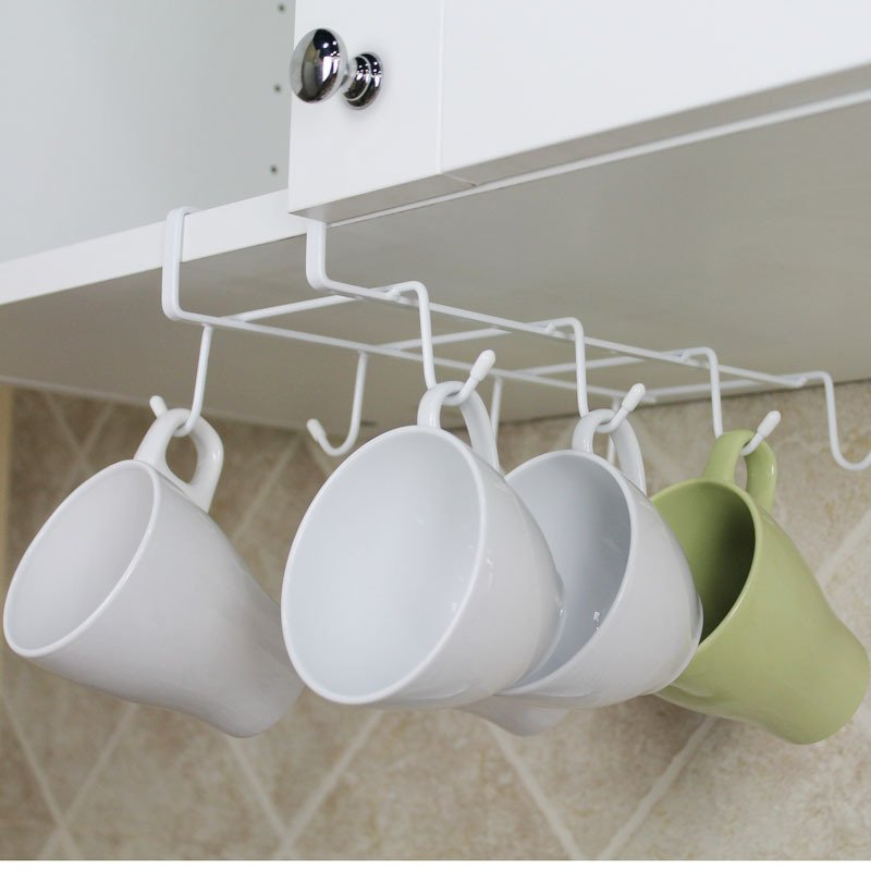 Double Rows 8 Hooks Metal Cabinet Shelves Coffee Cup Holder Spoon Spatula hanger