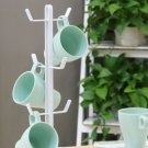 Metal Coffee Mug Tree Stand Office Tea Water Hang Cup Holder Storage Rack 6 Hook