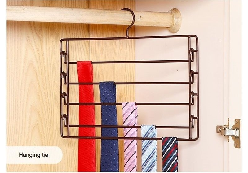 COLOR BRONZE Metal 4-Tier Swing-Arm Pants Hangers Towel Holder Removable Rack