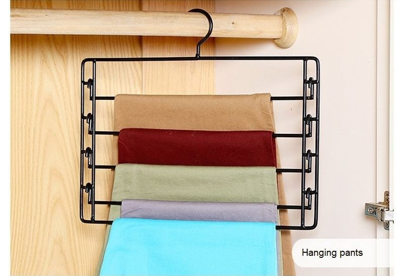 COLOR BLACK Metal 4-Tier Swing-Arm Pants Hangers Towel Holder Removable Rack
