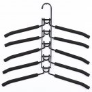 COLOR BLACK Anti-Slip Multi-Layer 5 Hanger Shirt Holder Jacket Rack