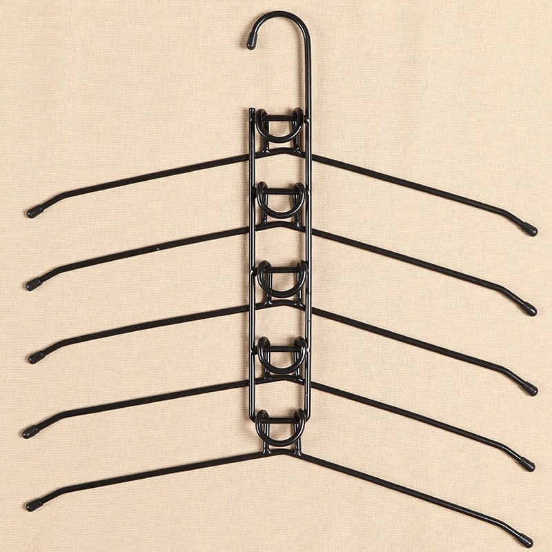 COLOR BLACK Multi-Hanger Five Layer Shirt Metal Holder Coat Iron Rack