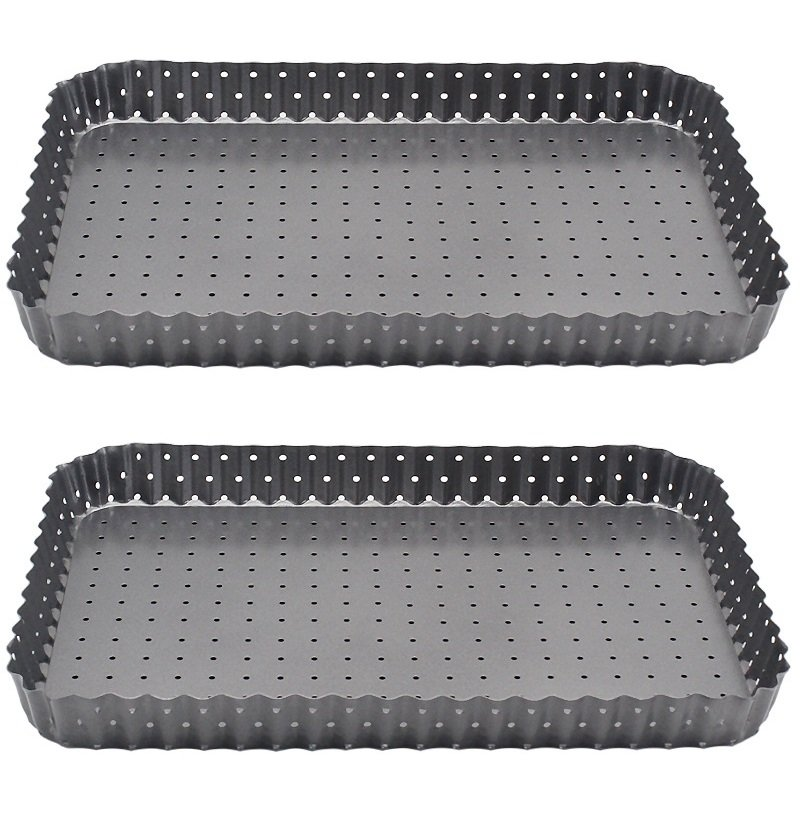 2PCS/SET Carbon Steel Round Hole Bake Square Tart Pie Pizza Rectangular Pan