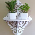 Wall Floating Shelves Holder Carved Hollow Rack White Clapboard Hanging Shelf