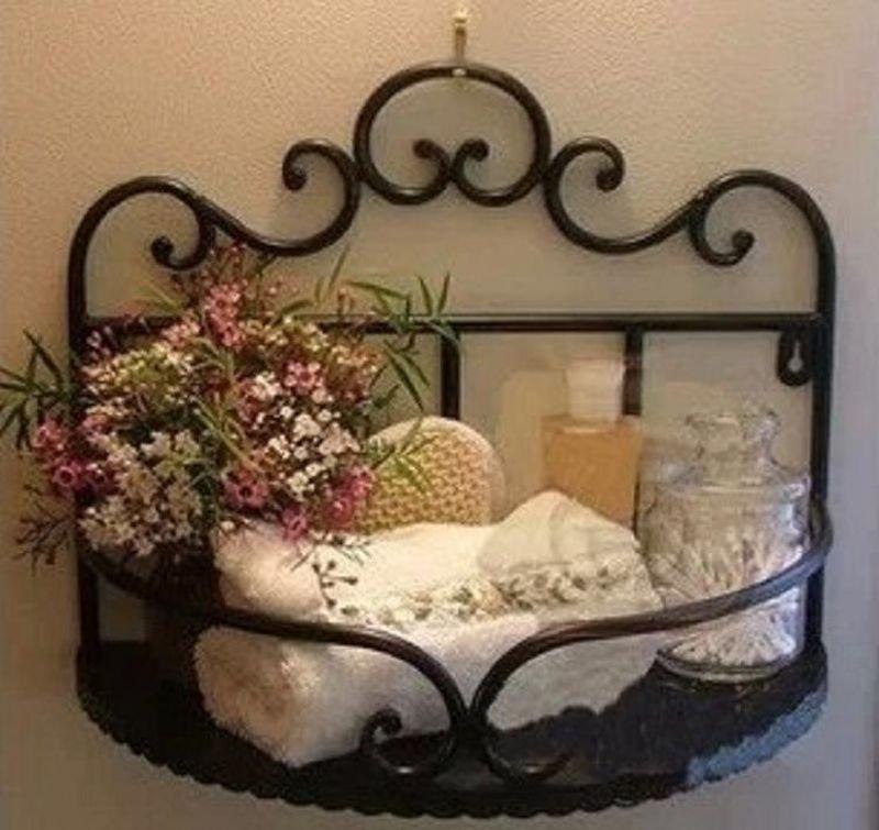 Black Wrought Iron Bathroom Toilets Shelf Decoration Flowers Soup Rack Wall-Mounted