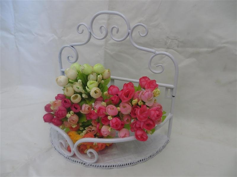 WHITE Wrought Iron Bathroom Toilets Shelf Decoration Flowers Soup Rack Wall-Mounted