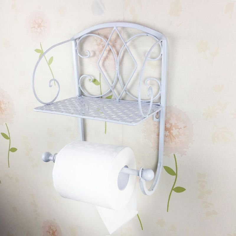 WHITE Classical Toilet Roll Paper Holder Bathroom Wall Mount Mobile Phone Rack