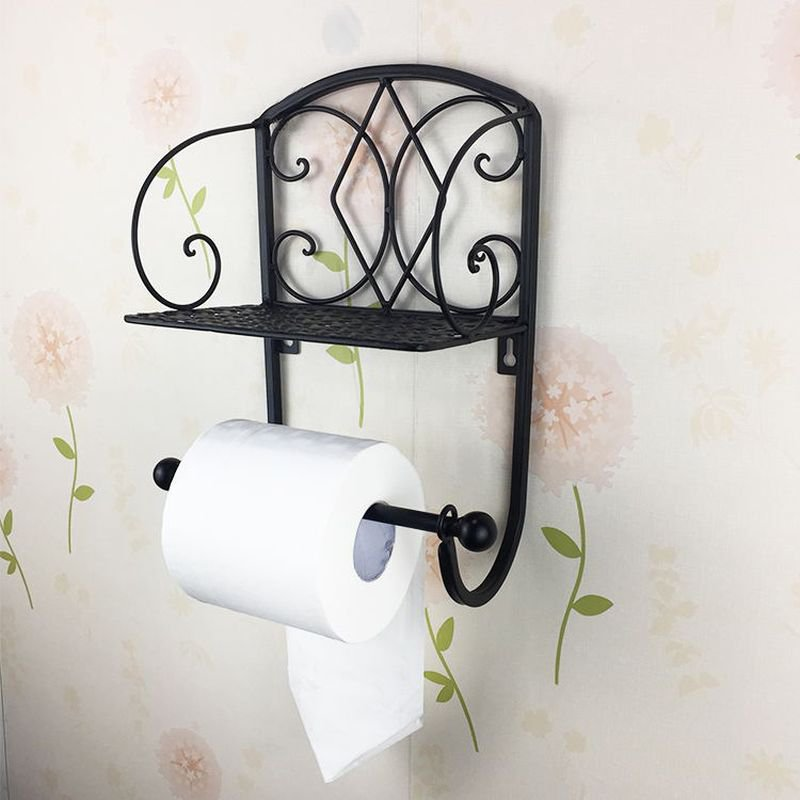 BLACK Classical Toilet Roll Paper Holder Bathroom Wall Mount Mobile Phone Rack