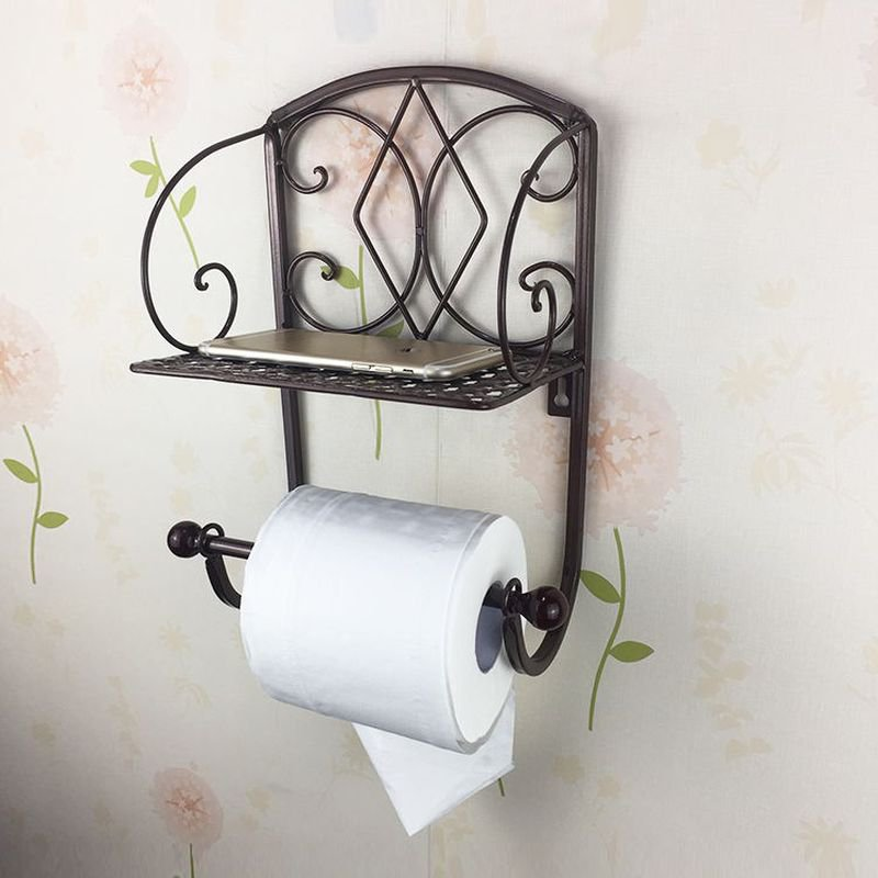 BRONZE Classical Toilet Roll Paper Holder Bathroom Wall Mount Mobile Phone Rack