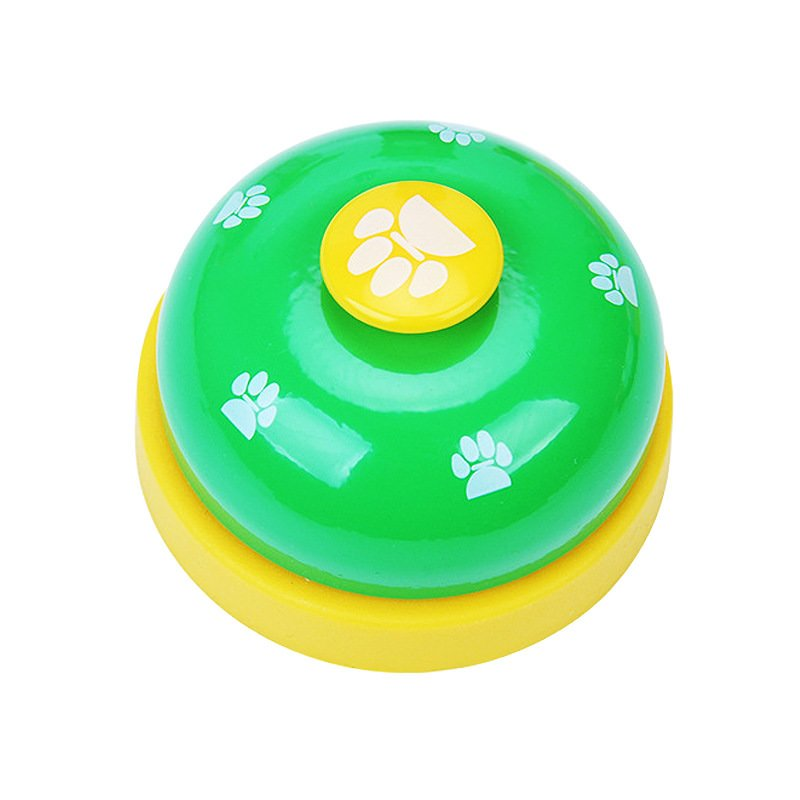 Green Pet Food Toy Training Meal Call Dog Puppy Trainer Cat Footprints Ring The Bell