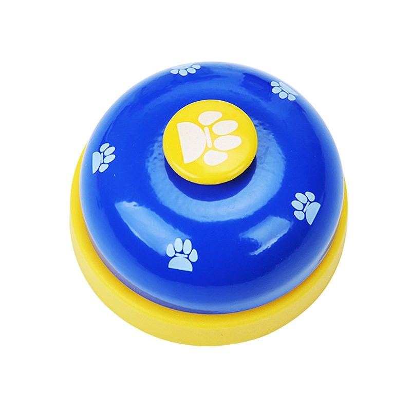Blue Pet Food Toy Training Meal Call Dog Puppy Trainer Cat Footprints Ring The Bell