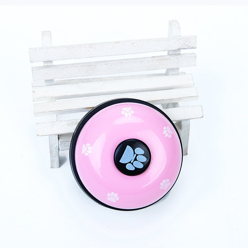 Pink Pet Food Toy Training Meal Call Dog Puppy Trainer Cat Footprints Ring The Bell