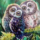 35x35CM Round DIY 5D Owls Love Full Diamond Painting Birds Resin Drill Embroidery Crystal Draw