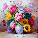 5D Full Diamond Painting Embroidery Restaurant Drill Cross Stitch Flowers Vase