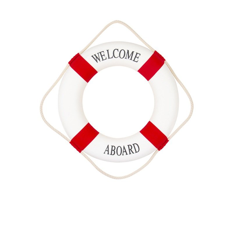 Red 14CM Welcome Aboard Lifebuoy Wall Hanging Wheel Sea Fish Restaurant Home Decoration