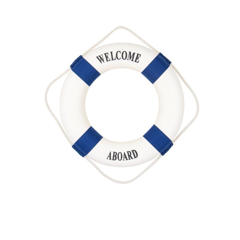Blue 25CM Welcome Aboard Lifebuoy Wall Hanging Wheel Sea Fish Restaurant Home Decoration