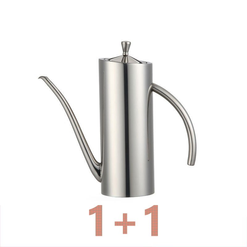 Silver 2pcs/set Coffee Teapot Olive Oil Can Soy Sauce 304 Stainless Steel Small Spout