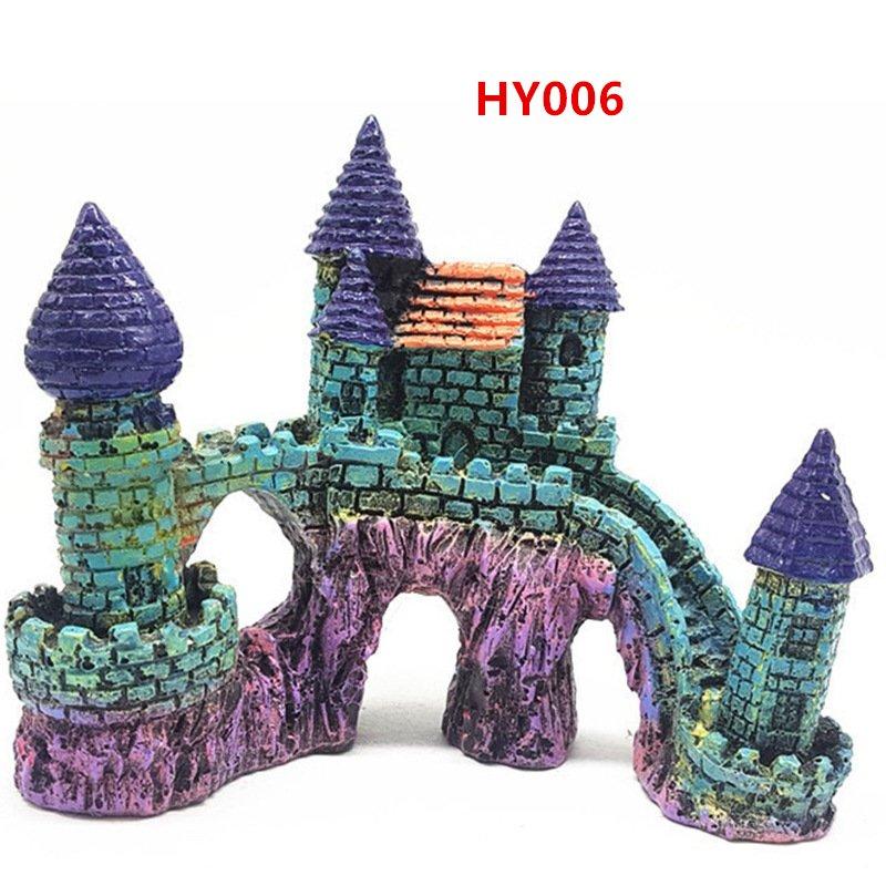 HY006 Aquarium Decoration Gift Fish Tank Decor Resin Ornament Bridge Castle